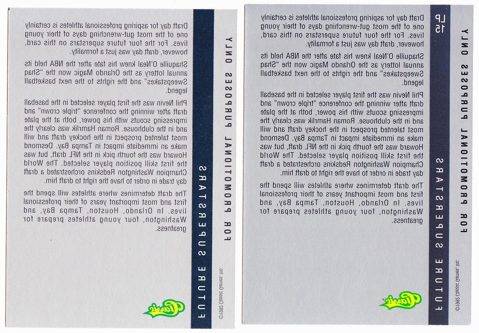 1992 Four Draft Card Show- backs PROMO