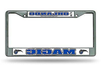 orlando magic chrome frame metal license plate