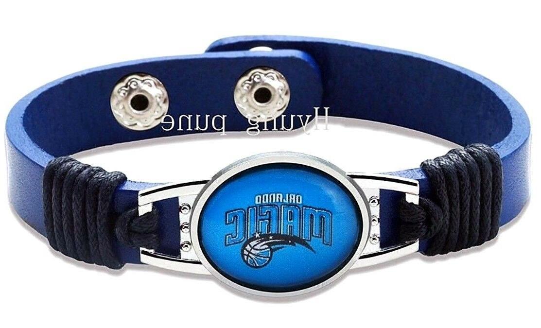 orlando magic nba genuine leather adjustable bracelet