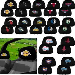 NBA Basketball All Team Logo Black Head Rest Covers Universa