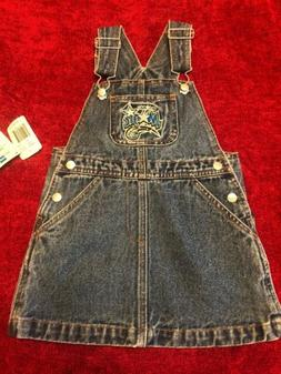 REEBOK NBA Blue Jean Baby Girls Denim Overall Jumper Sz 3T O