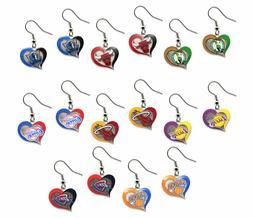 NBA Swirl Heart Team Dangle Earrings - Pick Your Team