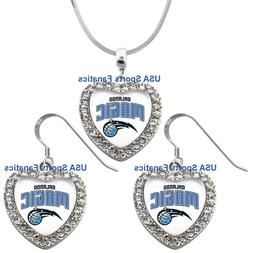 Orlando Magic 925 Necklace / Earrings or Set Team Heart With