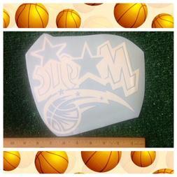 "Orlando Magic NBA Basketball Logo 8"" Rub-on White Adhesive C"