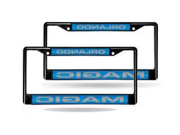 Orlando Magic NBA Black Metal  Laser License Plate Frame Set