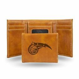 Orlando Magic NBA Laser Engraved Brown Trifold Wallet