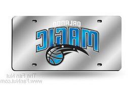 Orlando Magic Silver Deluxe Laser Cut Mirrored License Plate